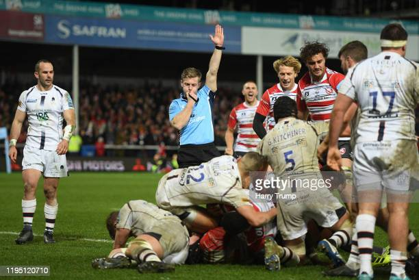 Match Referee Christophe Ridley awards a try to Ben Morgan of Gloucester Rugby during the Gallagher Premiership Rugby match between Gloucester Rugby...