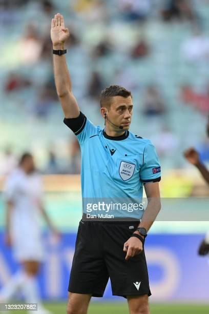 Match Referee, Clement Turpin looks on during the UEFA Euro 2020 Championship Group A match between Wales and Switzerland at the Baku Olympic Stadium...