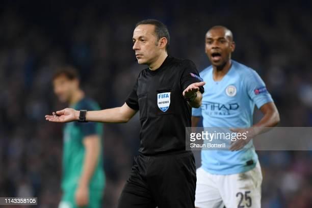 Match Referee Cuneyt Cakir signals offside after a VAR decision during the UEFA Champions League Quarter Final second leg match between Manchester...