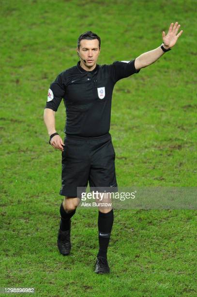 Match Referee Dean Whitestone gestures during the Sky Bet League One match between Milton Keynes Dons and Charlton Athletic at Stadium mk on January...