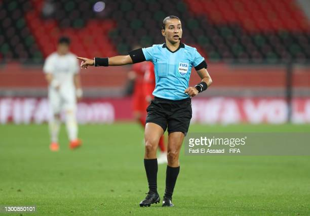 Match Referee Edina Alves Batista looks on during the FIFA Club World Cup Qatar 2020 5th Place match between Ulsan Hyundai FC and Al Duhail SC at the...