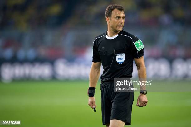 Match referee Felix Zwayer pictured during the FCBayern Munich vs Borussia Dortmund supercup final in the SignalIdunaPark in Dortmund Germany 5...
