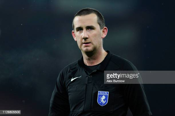 Match Referee Jack Packman looks on during the FA Youth Cup Fifth Round Match between AFC Bournemouth U18 and Aston Villa U18 at Vitality Stadium on...