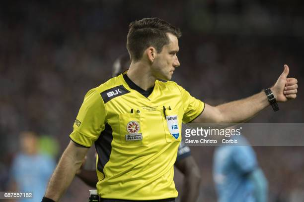 Match referee Jarred Gillett gestures during the 2017 ALeague Grand Final match between Sydney FC and the Melbourne Victory at Allianz Stadium on May...