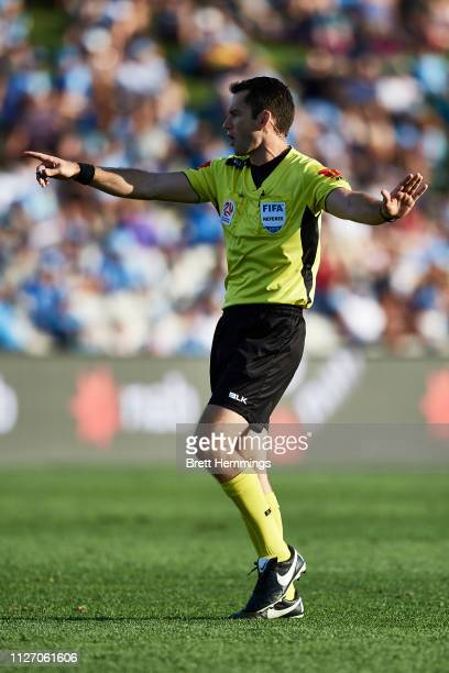 Match Referee Jarred Gillett is pictured during the round 17 ALeague match between Sydney FC and Melbourne City at WIN Jubilee Stadium on February 03...