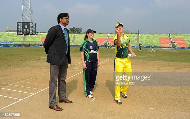 ICC match referee Javagal Srinath Isobel Joyce captain of Ireland and Meg Lanning captain of Australia during the toss before the start of the ICC...