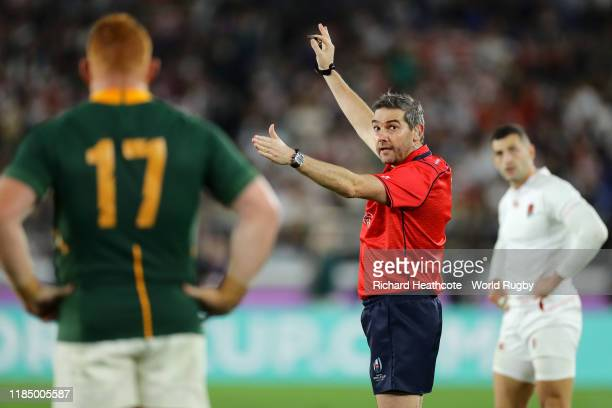 Match referee Jerome Garces awards a penalty during the Rugby World Cup 2019 Final between England and South Africa at International Stadium Yokohama...