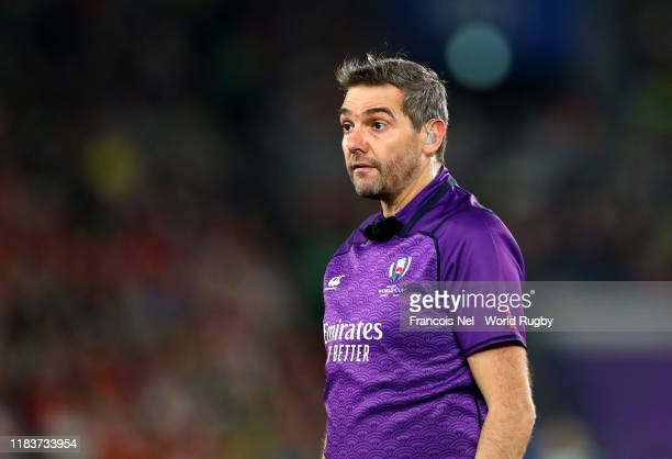 Match referee Jerome Garces looks on during the Rugby World Cup 2019 Semi-Final match between Wales and South Africa at International Stadium...