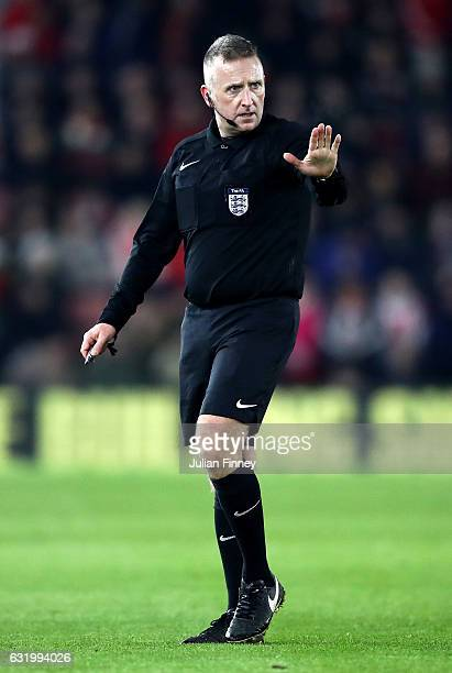 Match Referee Jonathan Moss looks on during The Emirates FA Cup Third Round Replay match between Southampton and Norwich City at St Mary's Stadium on...