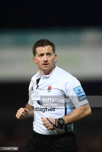 Match Referee JP Doyle during the Gallagher Premiership Rugby match between Gloucester Rugby and Saracens at Kingsholm Stadium on February 22 2019 in...