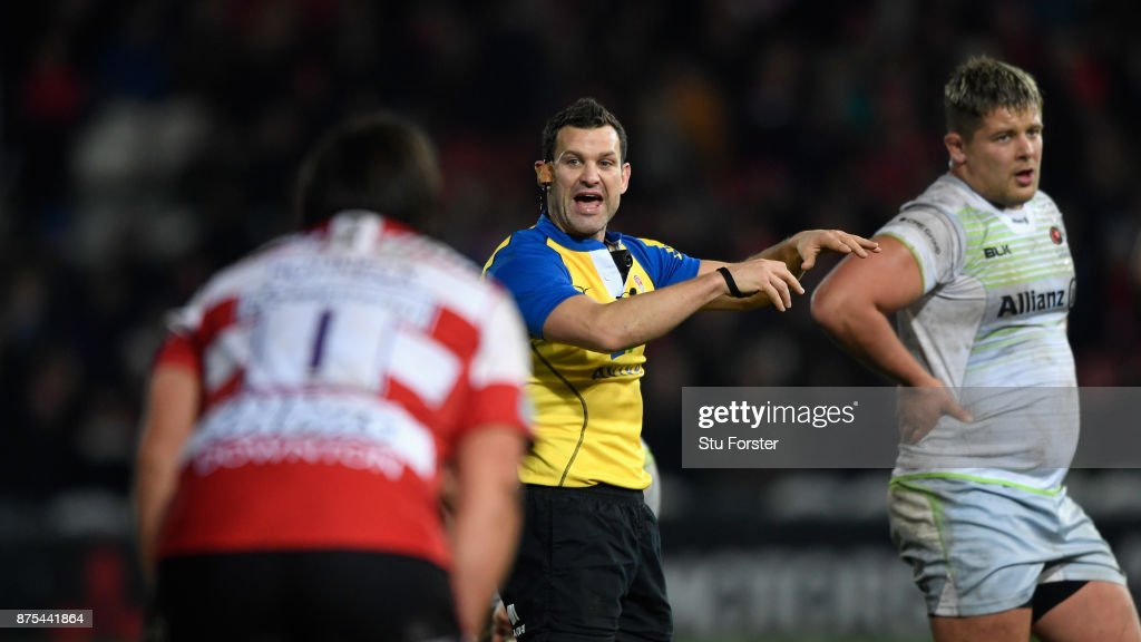 Match referee Karl Dickson in action during his first Premiership match in charge during the Aviva Premiership match between Gloucester Rugby and Saracens at Kingsholm Stadium on November 17, 2017 in Gloucester, England.