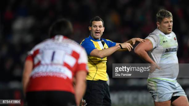 Match referee Karl Dickson in action during his first Premiership match in charge during the Aviva Premiership match between Gloucester Rugby and...