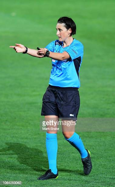 Match referee Kate Jacewicz during the round four W-League match between Adelaide United and Canberra United at Coopers Stadium on November 22, 2018...