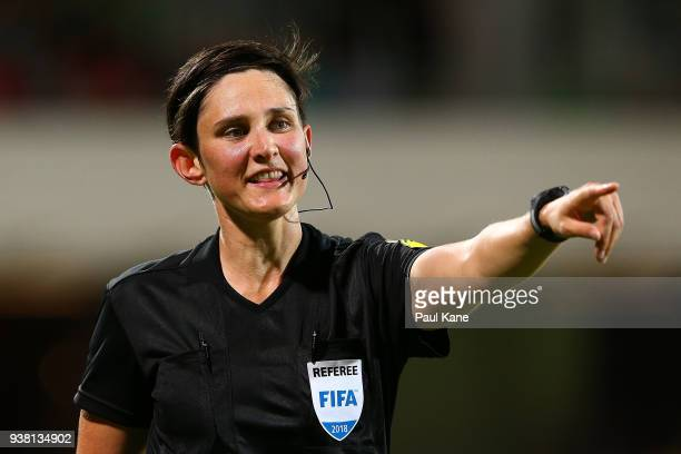Match referee Kate Jacewicz signals during the International Friendly Match between the Australian Matildas and Thailand at nib Stadium on March 26,...