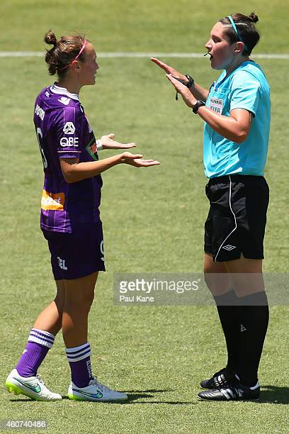Match referee Kate Jacewicz talks with Caitlin Foord of the Glory during the W-League Grand Final match between Perth and Canberra at nib Stadium on...
