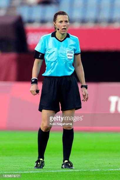 Match Referee, Kateryna Monzul looks on during the Women's First Round Group F match between China and Brazil during the Tokyo 2020 Olympic Games at...
