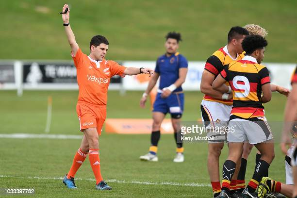 Match referee Marcus Playle in the Waikato vs Otago match during the Jock Hobbs U19 Rugby Tournament on September 15 2018 in Taupo New Zealand