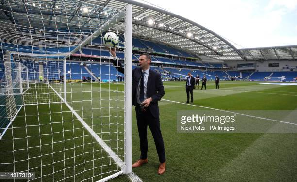 Match referee Michael Oliver tests the goal line technology prior to the Premier League match at the AMEX Stadium, Brighton.