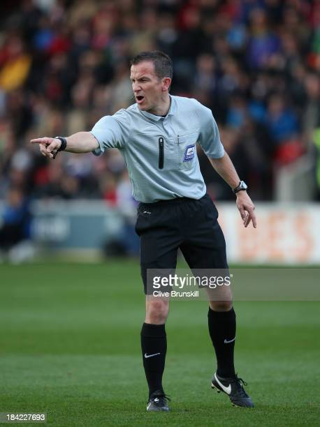 Match referee Mr Keith Stroud during the Sky Bet League Two match between Fleetwood Town and Chesterfield at Highbury Stadium on October 12, 2013 in...