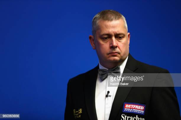 Match referee Paul Collier looks on during the first round match with Jamie Jones of Wales and Shaun Murphy of England during day three of the World...