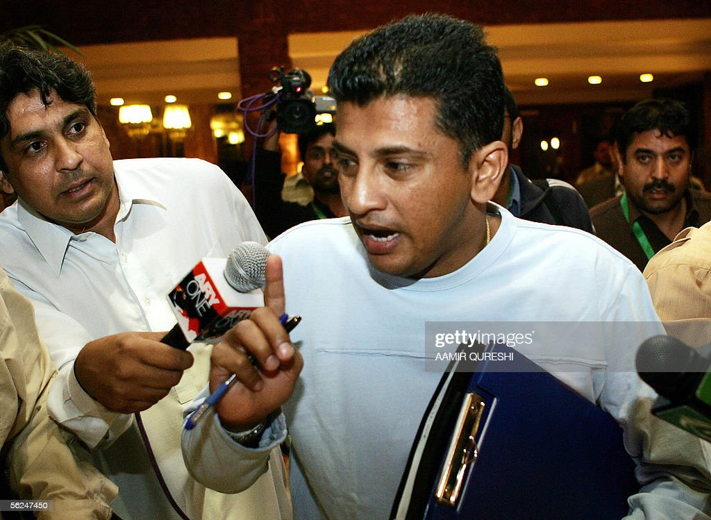 Match referee Roshan Mahanama comes out of a hearing in which Pakistani cricketer Shahid Afridi (unseen) appeared in Faisalabad, 21 November 2005. Afridi was summonsed after he was alleged to have affected the pitch at Iqbal Cricket Stadium during the second Test against England. The International Cricket Council (ICC) is to make an announcement on the hearing later on 21 November. AFP PHOTO/ Aamir QURESHI