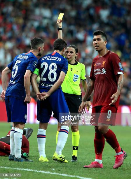 Match referee Stephanie Frappart books Chelsea's Cesar Azpilicueta during the UEFA Super Cup Final at Besiktas Park Istanbul