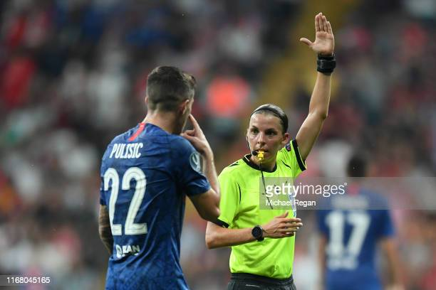 Match referee Stephanie Frappart disallows the goal scored by Christian Pulisic of Chelsea during the UEFA Super Cup match between Liverpool and...