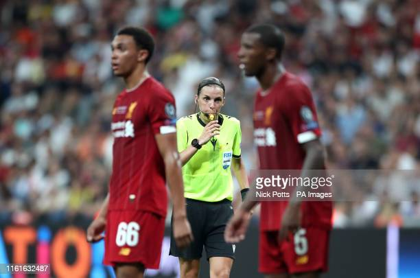 Match referee Stephanie Frappart during the UEFA Super Cup Final at Besiktas Park Istanbul