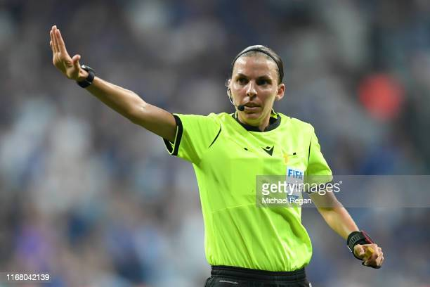 Match referee Stephanie Frappart reacts during the UEFA Super Cup match between Liverpool and Chelsea at Vodafone Park on August 14 2019 in Istanbul...