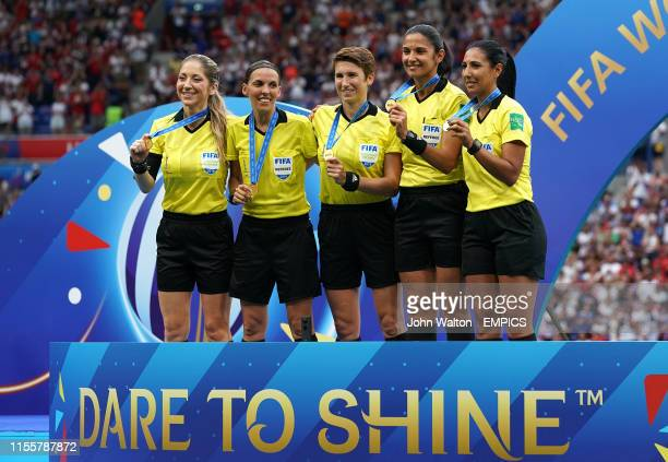 Match referee Stephanie Frappart with her assistants including Manuela Nicolosi and Michelle O'Neill and Claudia Umpierrez after the game USA v...