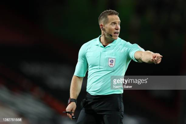 Match Referee Stephen Martin in action during the Sky Bet Championship match between AFC Bournemouth and Bristol City at Vitality Stadium on October...