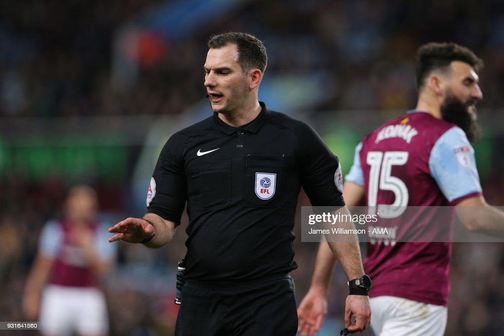 Match referee Tim Robinson during the Sky Bet Championship match between Aston Villa and Queens Park Rangers at Villa Park on March 13, 2018 in Birmingham, England.