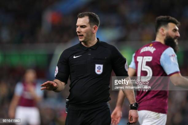 Match referee Tim Robinson during the Sky Bet Championship match between Aston Villa and Queens Park Rangers at Villa Park on March 13 2018 in...