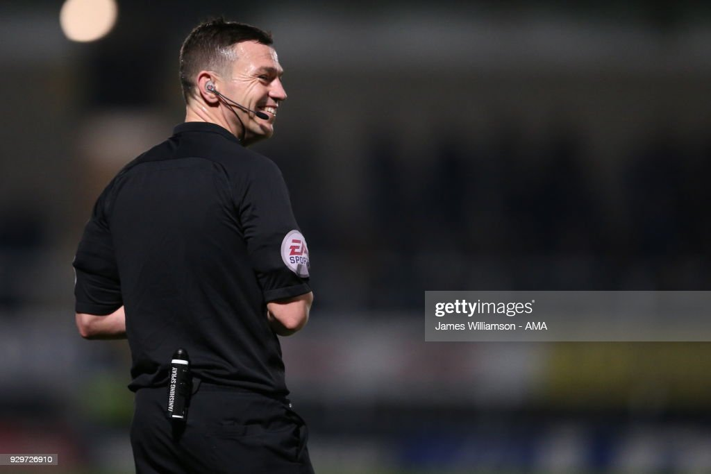 match referee Tony Harrington during the Sky Bet Championship match between Burton Albion and Brentford the at Pirelli Stadium on March 6, 2018 in Burton-upon-Trent, England.