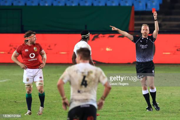 Match Referee, Wayne Barnes shows a red card to Jaden Hendrikse of Cell C Sharks during the tour match between Cell C Sharks and the British & Irish...