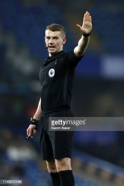 Match Referee Will Finnie in action during the Premier League 2 match between Chelsea and Arsenal at Stamford Bridge on April 15 2019 in London...