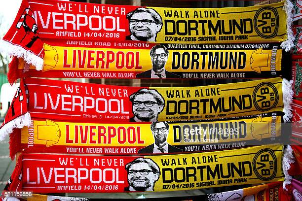 Match scarves displaying an image of Jurgen Klopp manager of Liverpool are sold on a merchandise stall prior to the UEFA Europa League quarter final...