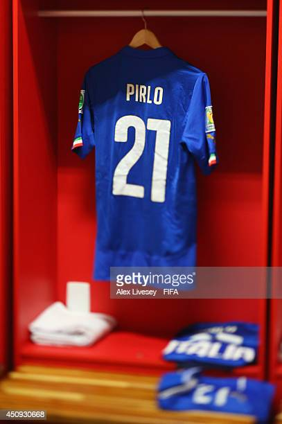 A match shirt worn by Andrea Pirlo of Italy is seen in the dressing room prior to the 2014 FIFA World Cup Brazil Group D match between Italy and...