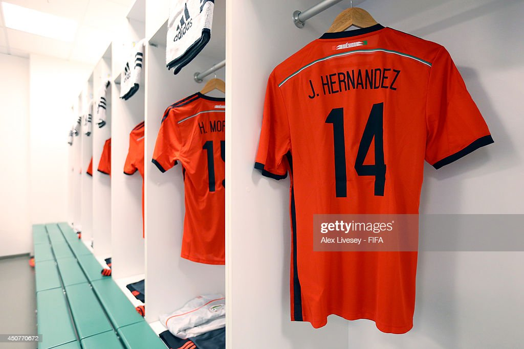 save off ce6dc 10143 A match shirt worn by Javier Hernandez of Mexico is seen in ...