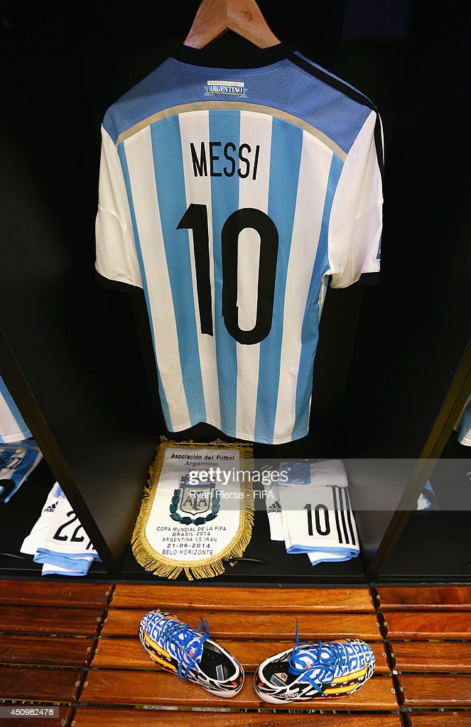 promo code 416d3 c5fae A match shirt worn by Lionel Messi of Argentina is seen in ...