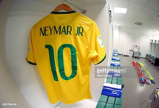 A Match Shirt Worn By Neymar Of Brazil Hangs In The Dressing Room Prior To