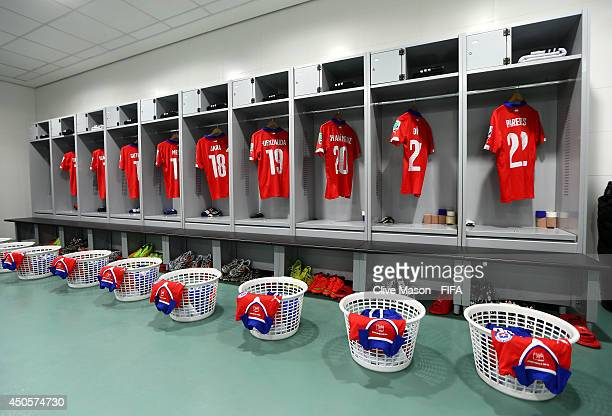 Match shirts are seen in the Chile dressing room prior to the 2014 FIFA World Cup Brazil Group B match between Chile and Australia at Arena Pantanal...
