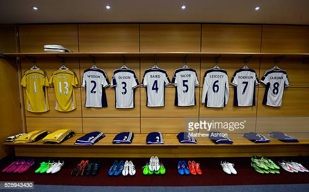 match shirts of West Bromwich Albion players hang in the away dressing room ahead of todays fixture