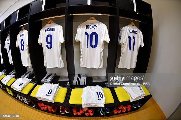 Match shirts worn by players of England are hung up in the dressing room prior to the 2014 FIFA World Cup Brazil Group D match between England and...