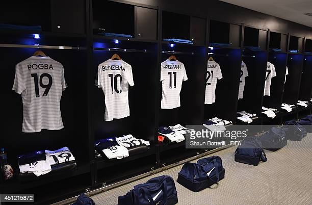 Match shirts worn by players of France are seen in the dressing room prior to the 2014 FIFA World Cup Brazil Group E match between Ecuador and France...