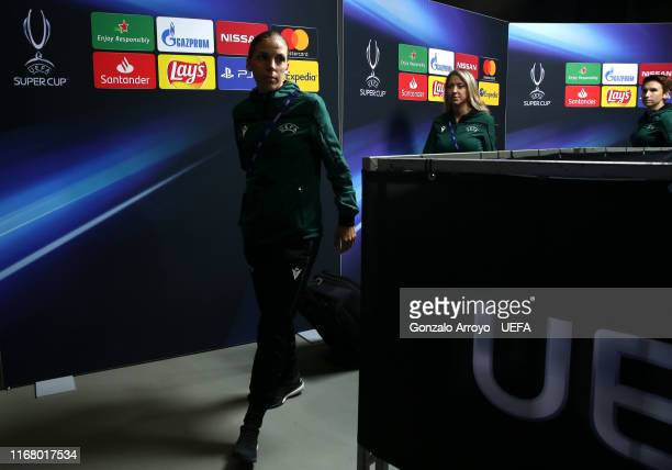 Match Stephanie Frappart arrives at the stadium ahead of the UEFA Super Cup match between Liverpool and Chelsea at Vodafone Park on August 14 2019 in...