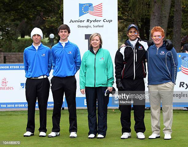 Match Three Justin Thomas Oliver Schniederjans Shona McRae Moritz Lampert and Chris Loydd pose for a photograph during the the first day of the...