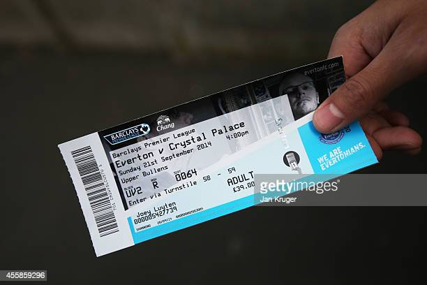 A match ticket is seen prior to kickoff during the Barclays Premier League match between Everton and Crystal Palace at Goodison Park on September 21...