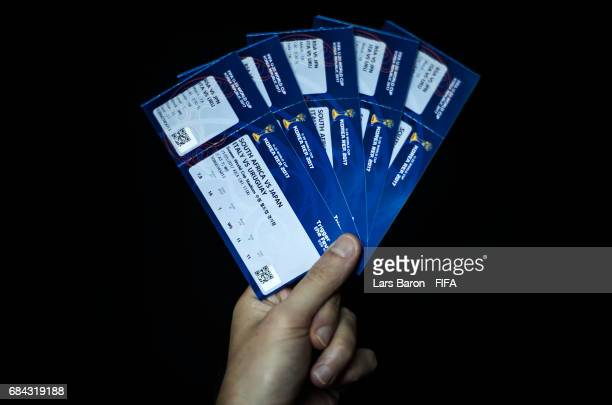 Match tickets are seen on May 18 2017 in Suwon South Korea The FIFA U20 World Cup Korea Republic 2017 will kick off on May 20 and the final will take...