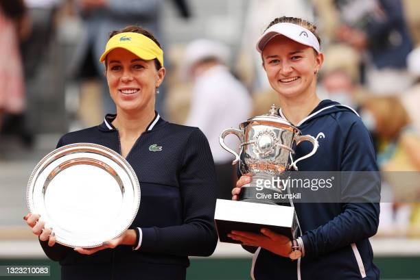 Match Winner Barbora Krejcikova of Czech Republic and runner up Anastasia Pavlyuchenkova of Russia pose for a photo with their respective Trophies...